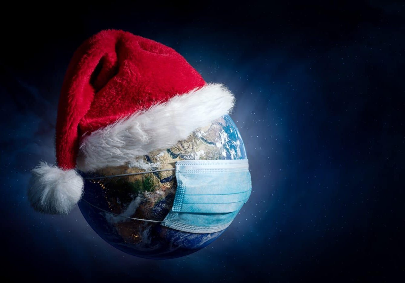 Earth With Surgical Mask and Santa Hat - Virus Infection Covid 19 - World with Coronavirus - Christmas Concept 3D Illustration - Earth map developed from NASA source data on https://visibleearth.nasa.gov/collection/1484/blue-marble