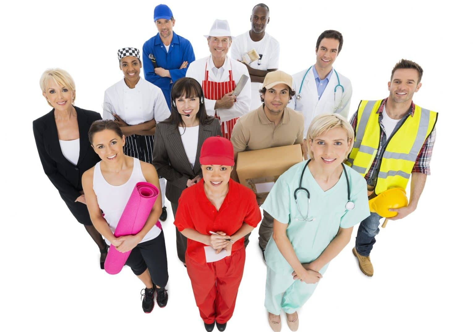 High angle portrait of confident working people with various occupations isolated over white background